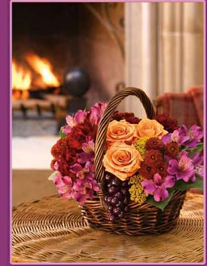Flowers by the fireplace