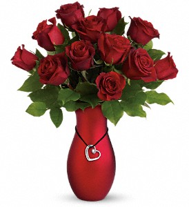 valentines roses red vase boston
